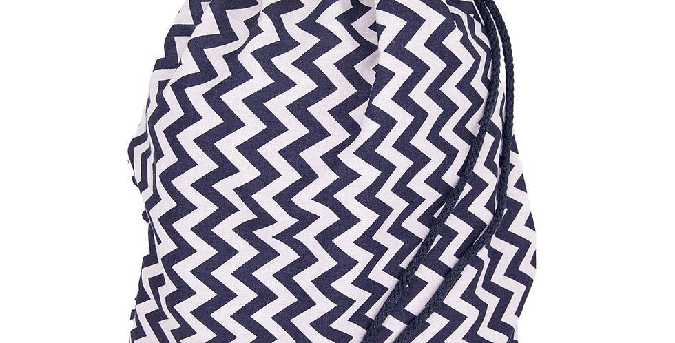 Navy Zig Zag Drawstring Bags
