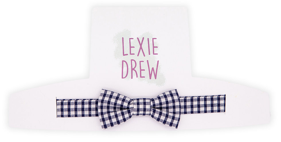 Navy Gingham Little Man Bow Tie