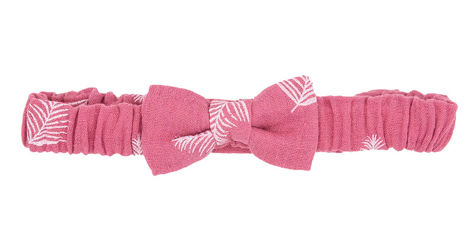 Pink Feather Soft Bow Hairband