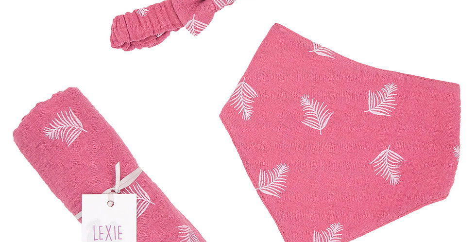 Pink Feather Bib, Hairband & Muslin Set