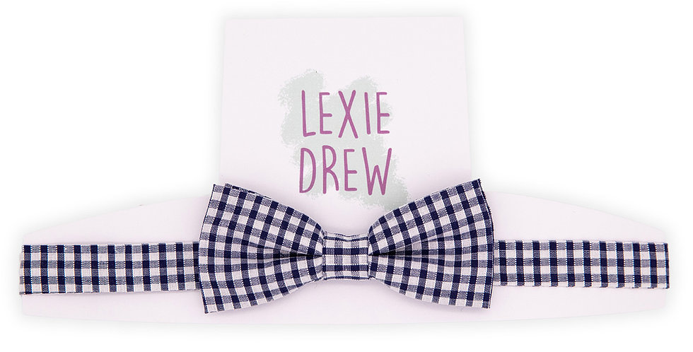 Navy Gingham Daddy Bow Tie