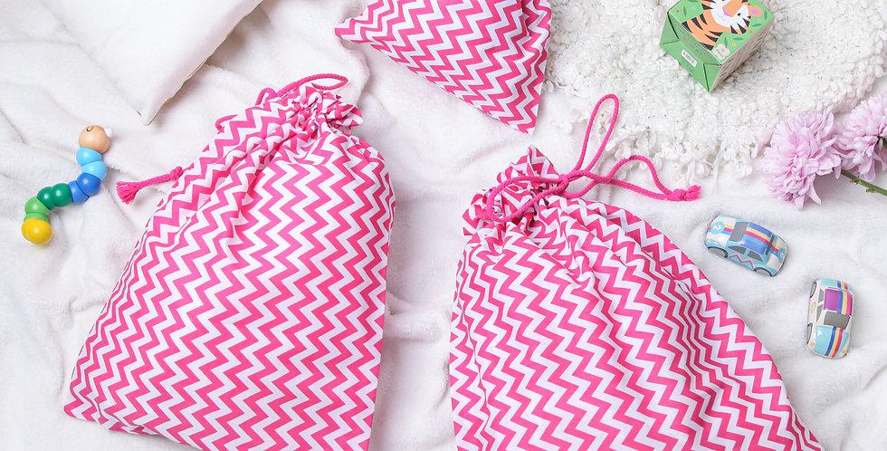 Pink Zig Zag Drawstring Bag Set