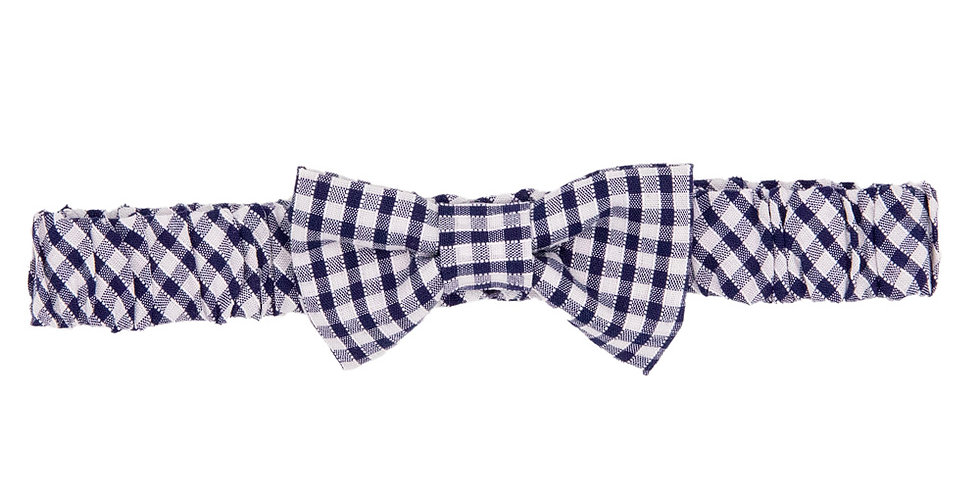 Navy Gingham Soft Bow Hairband