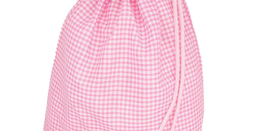Pink Gingham Drawstring Bags