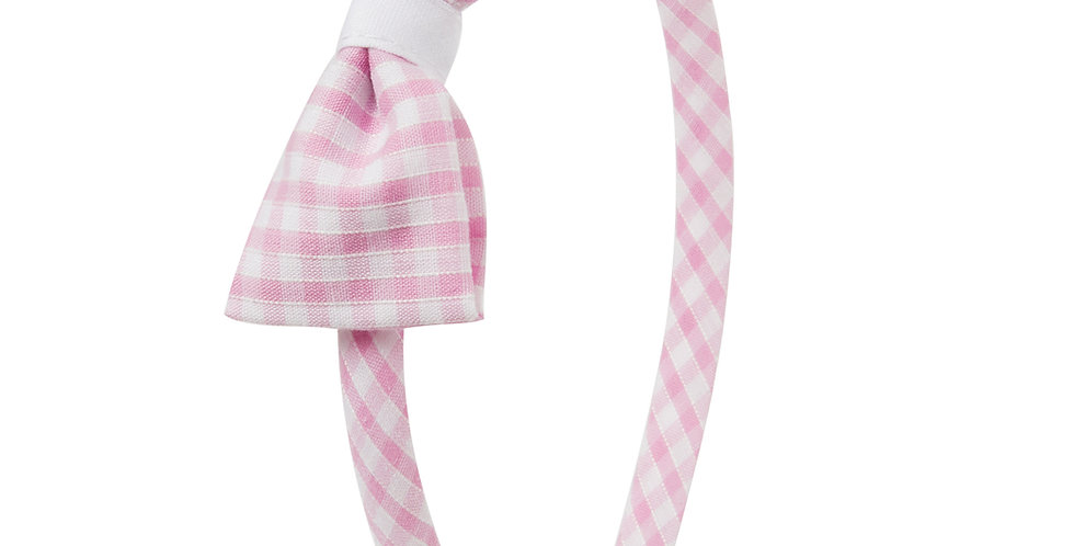 Pink Gingham Traditional Hairband
