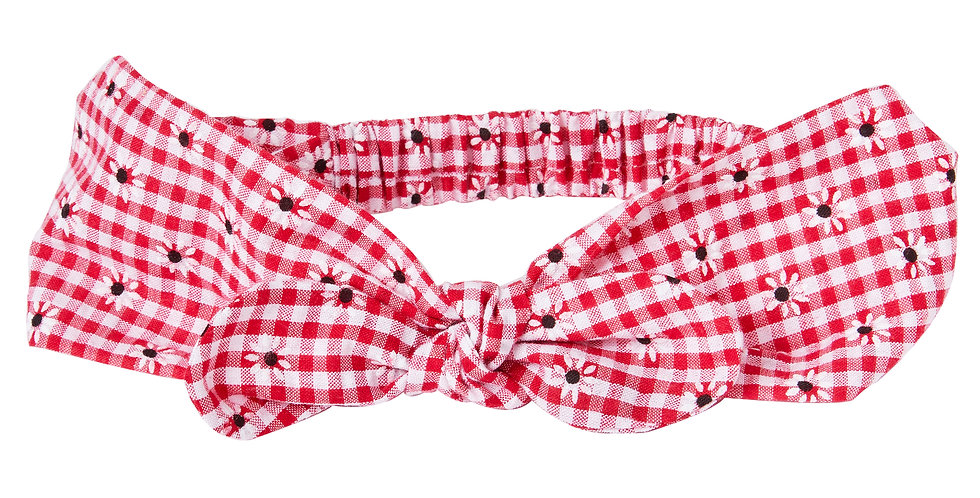 Red Gingham Flower Miss Mop Hairband