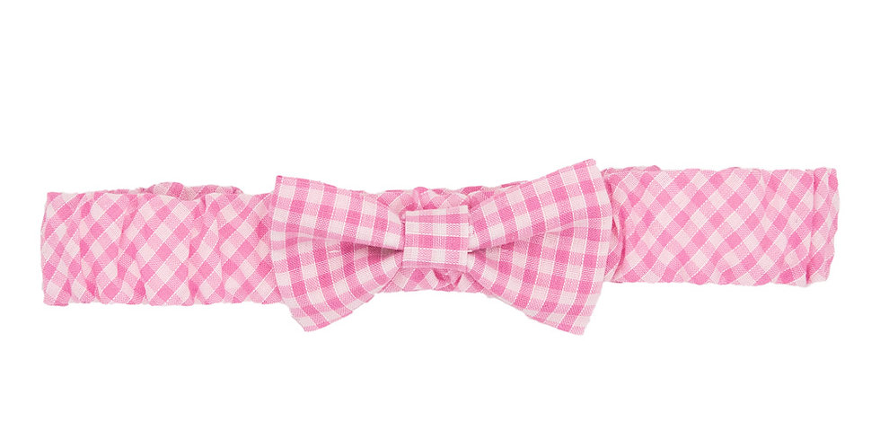 Pink Gingham Soft Bow Hairband