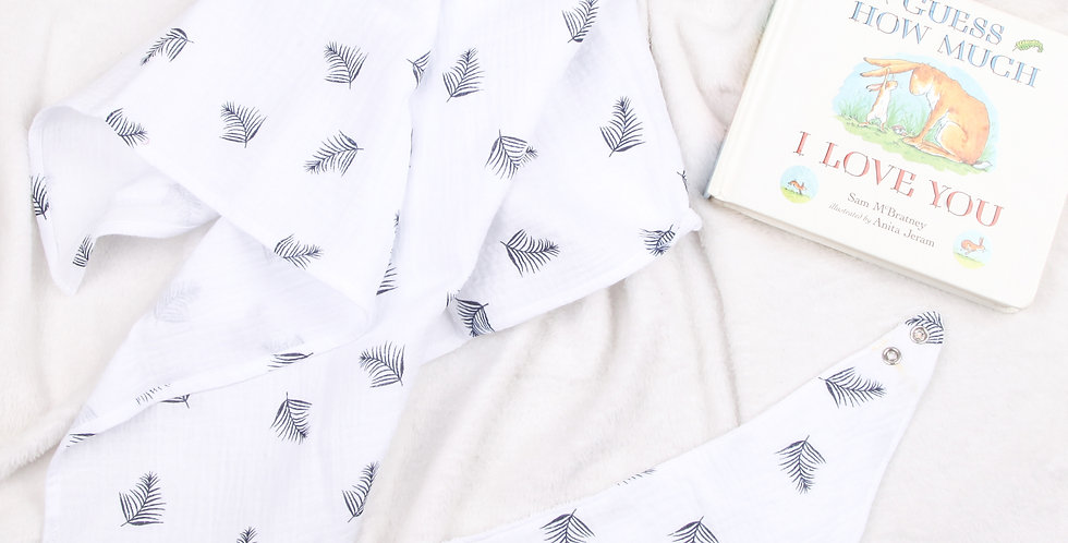 White Feather Outlaw Bib & Muslin Gift Set