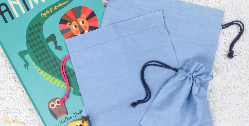 Blue Denim Drawstring Bag Set