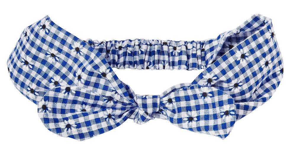 Blue Gingham Flower Miss Mop Hairband