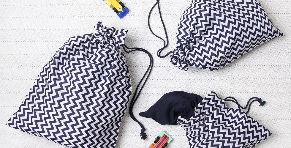 Navy Zig Zag Drawstring Bag Set
