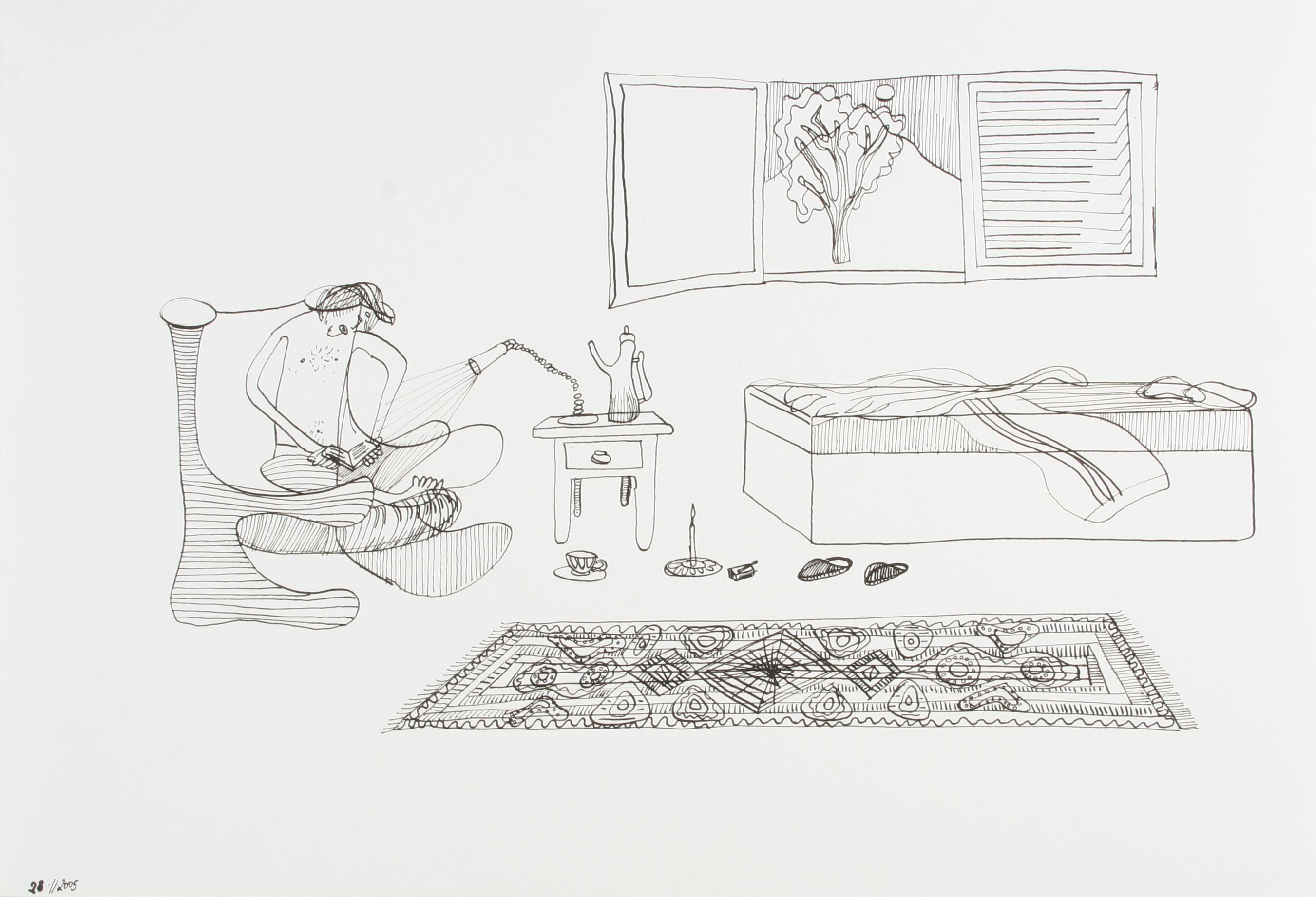 Homem lendo livro no quarto