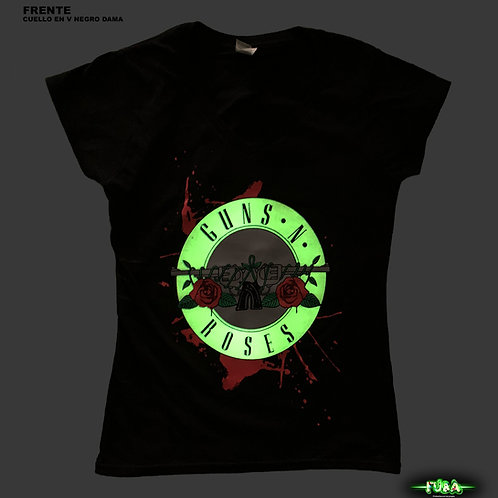 "Playera Guns N' Roses Dama cuello en ""V"""