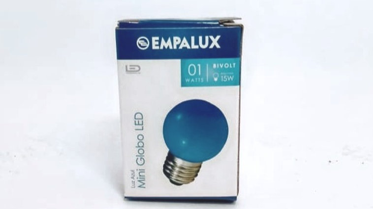 Lâmpada Mini Globo LED 1W E27 bivolt Luz Azul - Empalux MG30132