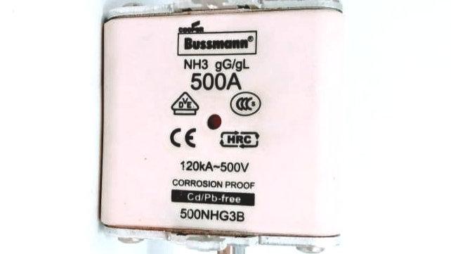 Fusível NH3 gG/gL 500A 120kA 500V Bussmann 500NHG3B