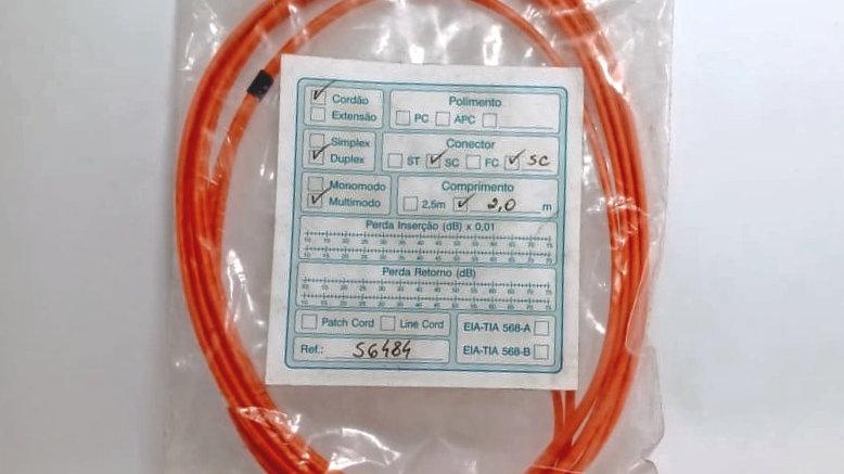 Patchcord Fibra Cordão Optico Duplex Mm Om1 62.5 Sc/sc 2 Mts