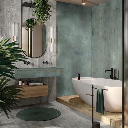 Navona grey på gulv og rebel emerald på vegg