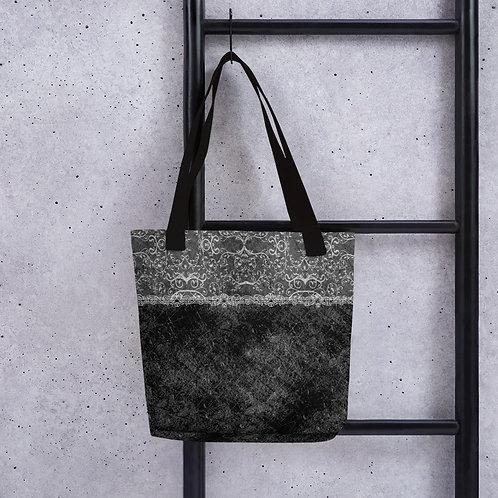 Distressed Black Lace Fashion Tote bag