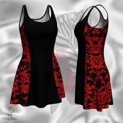 Red Skull Cutout Goth Dress