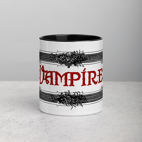 Fancy Vampire Sign Gothic Mug with Black Color Inside