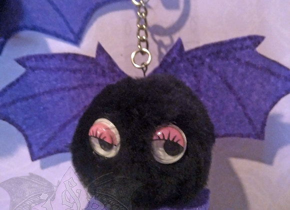 Baby Bat Pom Pom Critter Keychain