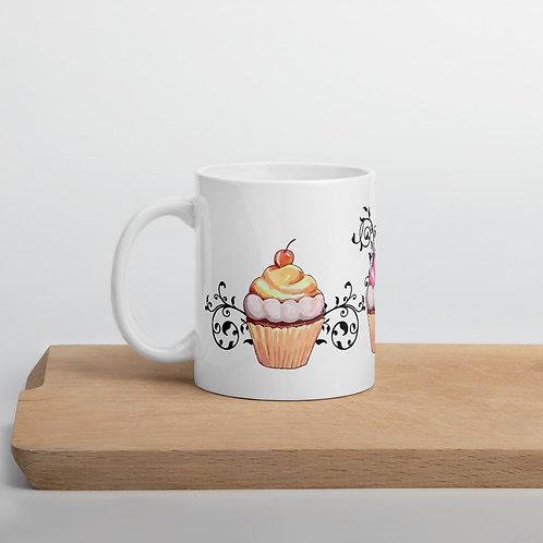 Filigree Cupcakes Vintage Style Mug