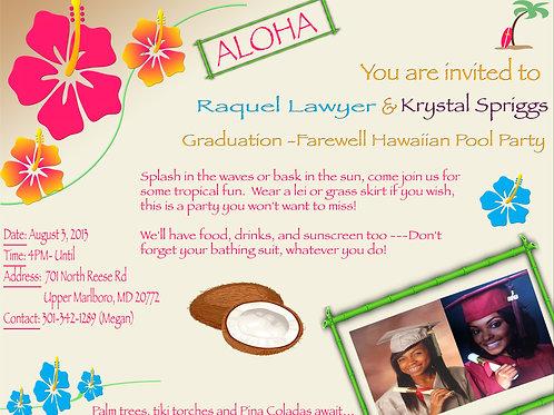 Hawaiian Theme Invitation