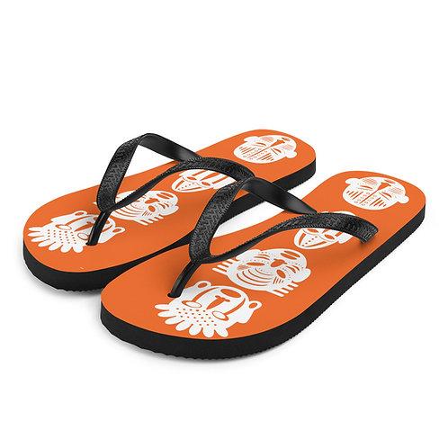 Orange Quad Mask Flip-Flops