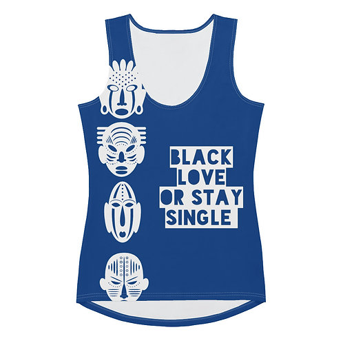 "Blue Quad Mask ""Black Love or Stay Single"" Sublimation Cut & Sew Tank Top"