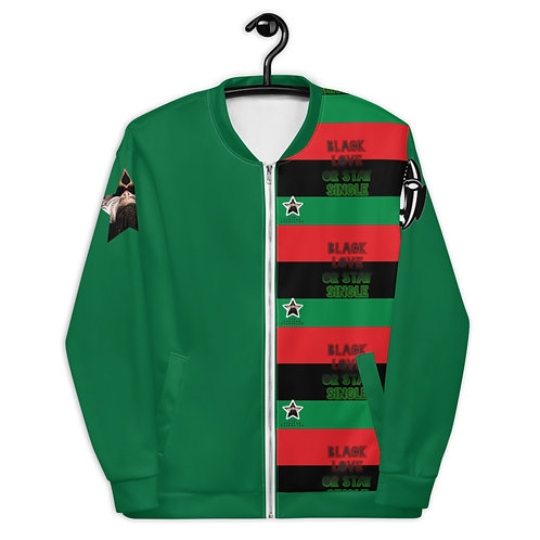 "Green Pan African ""Black Love or Stay Single"" Unisex Bomber Jacket"