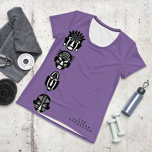 Purple Quad Mask Women's Athletic Shirt