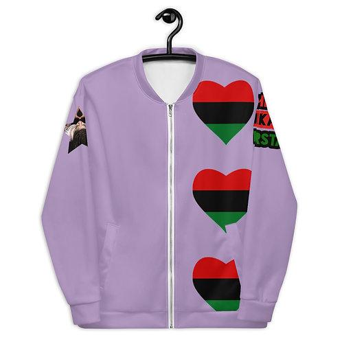 Purple Pan African Love Unisex Bomber Jacket