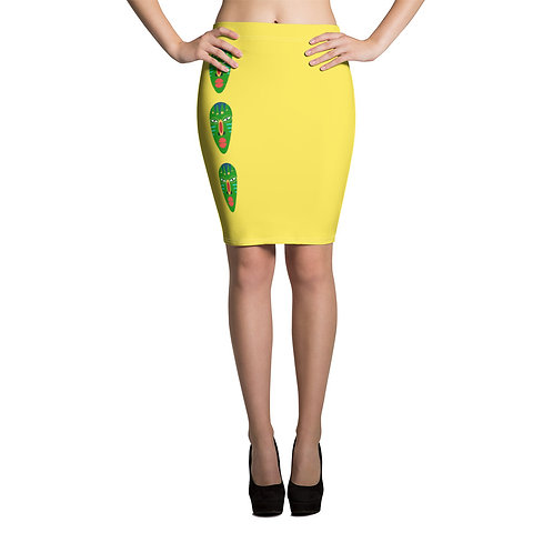 Women's Yellow Mask Pencil Skirt