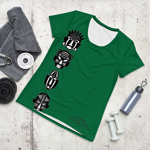 Green Quad Women's Athletic T-shirt