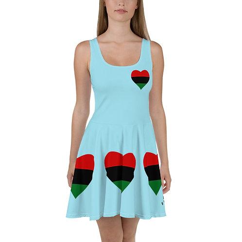 Blue Pan African Love Skater Dress