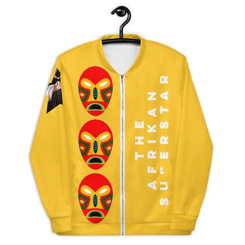 Yellow Flame Mask Unisex Bomber Jacket