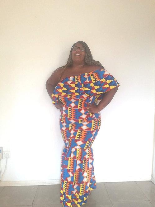 Kente Goddess Convertible Ankara Ruffle Maxi Dress