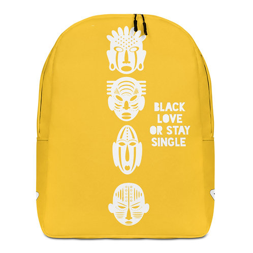 "Yellow Quad Mask ""Black Love or Stay Single"" Minimalist Backpack"