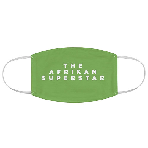 Green Afrikansuperstar white logo Fabric Face Mask