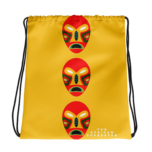 Yellow Flame Mask Drawstring bag