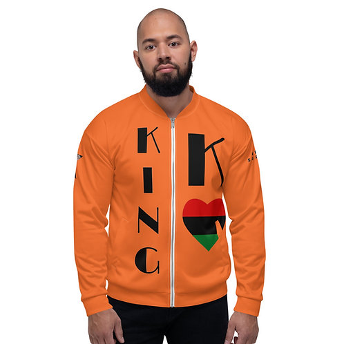 Orange Pan African King Unisex Bomber Jacket