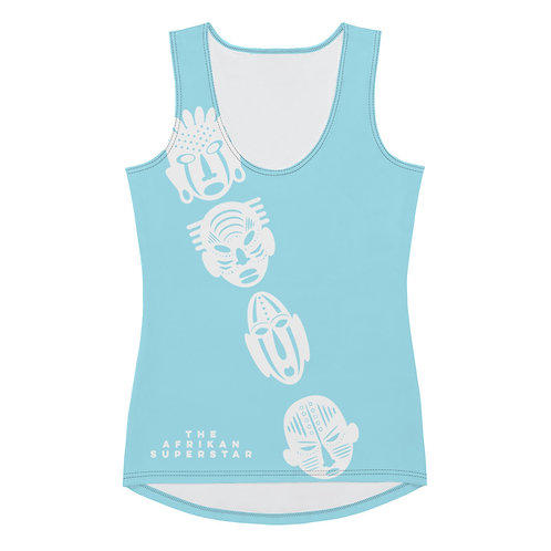 Light Blue Ivory Cross Mask Sublimation Cut & Sew Tank Top