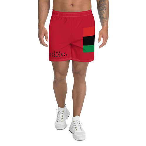Red Pan African Men's Athletic Long Shorts