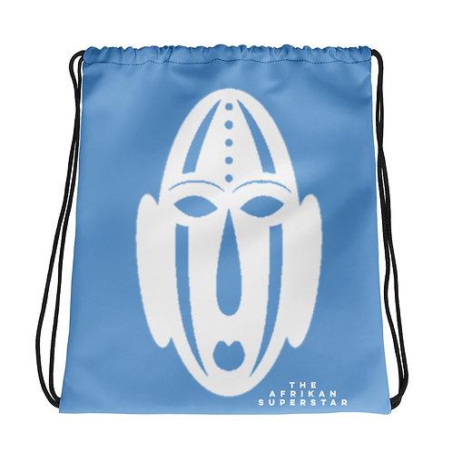 Blue Ivory Mask Drawstring bag