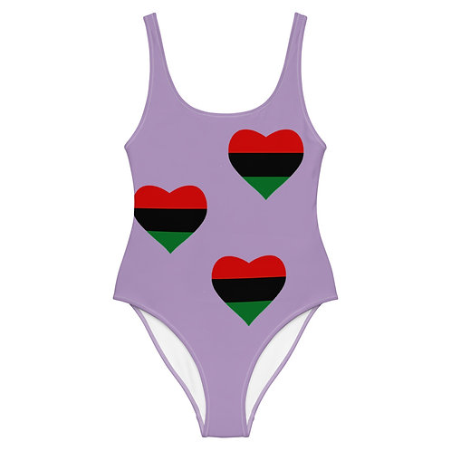 "Purple ""Pan African Love"" One-Piece Swimsuit"