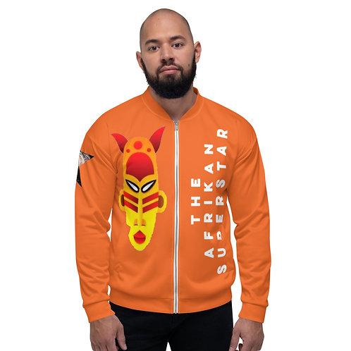 Orange Fire Mask Unisex Bomber Jacket