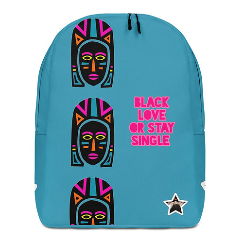 "Blue Explosion Mask ""Black Love or Stay Single""Minimalist Backpack"