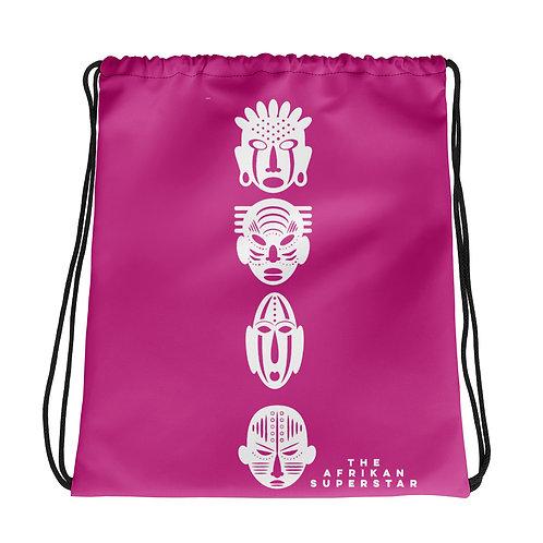 Hot Pink Ivory Quad Mask Drawstring bag