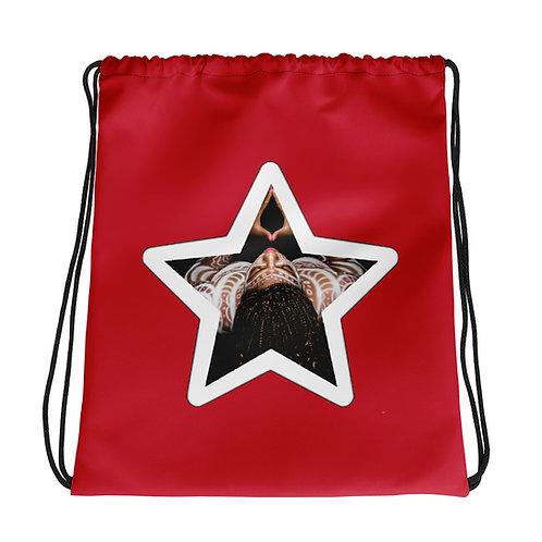 Red Afrikan Superstar Drawstring bag