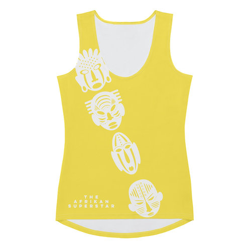 Yellow Ivory Cross Mask Sublimation Cut & Sew Tank Top